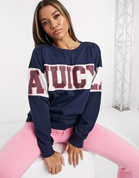 Juicy Couture Jxjc Long Sleeve Colorblock Graphic Tee Blue