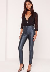 Missguided High Waisted Coated Skinny Jeans Blue