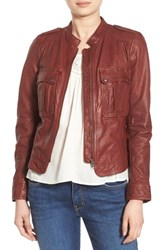 Hinge Women's Patch Pocket Leather Jacket Brown Raisin