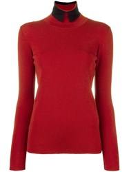 Roberto Collina High Neck Collar Jumper Red