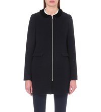 Claudie Pierlot Gilda Wool Blend Coat Marine