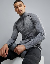 Ki5 A Levin Long Sleeve Seamless Zip Top In Light Grey Grey
