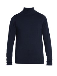 Sunspel Roll Neck Wool Sweater Blue