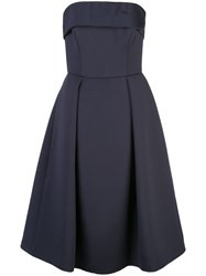 Amsale Strapless Flared Dress Blue