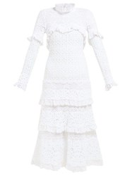 Jonathan Simkhai Ruffled Crochet Lace Dress White