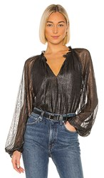 Sanctuary Live It Up Volume Blouse In Black Metallic Silver. Black And Silver
