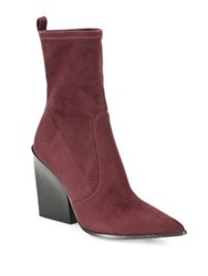 Kendall Kylie Felicia Suede Point Toe Block Heel Booties Burgundy Black