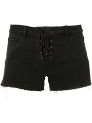 Paige Lace Up Denim Shorts Black