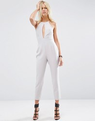 Asos Jumpsuit With Keyhole Plunge Detail Silver