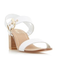 Dune Jany Stacked Heel Buckle Sandals White
