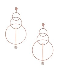 Bcbgeneration Pearl Group Faux Pearl Triple Circle Drop Earrings Rose Gold