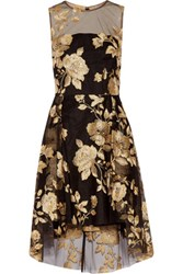 Mikael Aghal Sequined Embroidered Tulle Dress Black