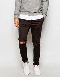 Asos Skinny Chinos With Knee Rips Charcoal