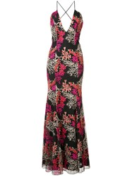 Jay Godfrey Floral Embroidered Gown Women Silk Nylon 2 Black