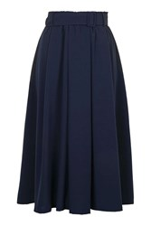 Hand Picked Midi Skirt With Belt By Jovonna Navy Blue