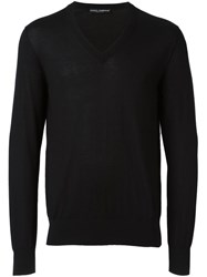 Dolce And Gabbana V Neck Jumper Black