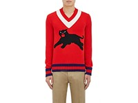 Gucci Men's Panther Graphic Wool Sweater Red No Color