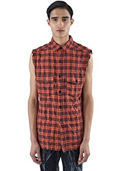 Saint Laurent Sleeveless Plaid Shirt Vest Red