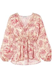 Elizabeth And James Angela Printed Silk Blouse Sand