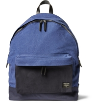 Porter Yoshida And Co Leather Trimmed Canvas Backpack Blue