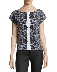 Laundry By Shelli Segal Lace Print Cap Sleeve Blouse Black Multi