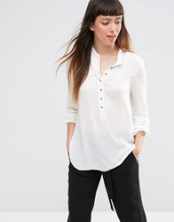 Jdy Collarless Shirt Cloud Dancer White