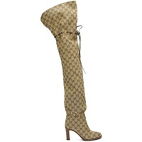 Gucci Beige Gg Lisa Over The Knee Boots