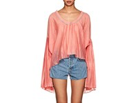 Thierry Colson Selima Bell Cuff Silk Cotton Blouse Candy Pink