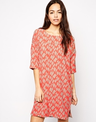 B.Young Aztec Print Shift Dress With 3 4 Sleeves Hotcoral