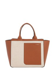 Valextra Leather And Canvas Tote Bag Sabbia