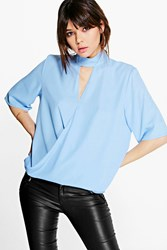 Boohoo High Cut Out Choker Neck Wrap Front Blouse Sky