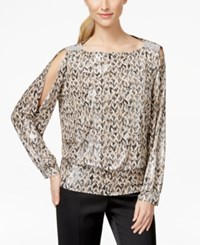 Msk Cold Shoulder Printed Blouson Top