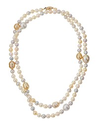 Belpearl Long Multicolor Akoya And South Sea Pearl Necklace Women's