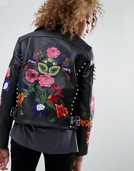 Asos Premium Leather Biker Jacket With Floral Embroidery And Stud Detail Black