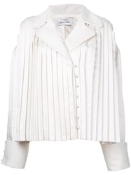 Donnah Mabel Pleated Trim Jacket White