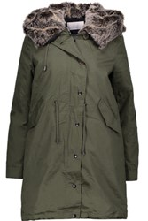 W118 By Walter Baker Alyssa Convertible Faux Fur Trimmed Cotton Canvas Hooded Coat Army Green