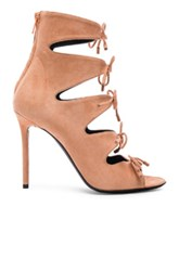 Balenciaga Suede Tie Booties In Pink Orange