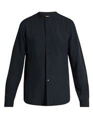 Christophe Lemaire Mandarin Collar Twill Shirt Dark Navy