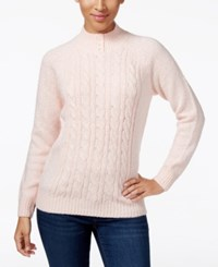 Karen Scott Cable Knit Sweater Only At Macy's Pink Suede