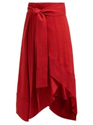 Zeus Dione Muses Silk Blend Jacquard Wrap Midi Skirt Red