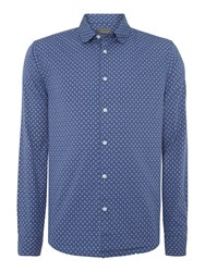Linea Fraser Long Sleeve Paisley Print Shirt Blue