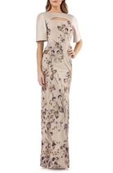 Kay Unger Cutout Detail Embroidered Beaded Gown Gold Multi