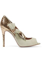 Red Valentino Bow Embellished Paneled Glittered Suede Pumps Mint