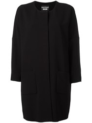 Boutique Moschino Three Quarters Sleeve Boxy Coat Black