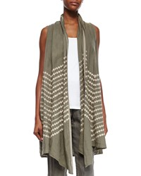 Johnny Was Petra Embroidered Draped Vest Green