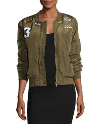 Romeo And Juliet Couture Patched Satin Bomber Jacket Olive