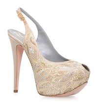 Gina Monet Platform Peep Toe Slingbacks Female Camel