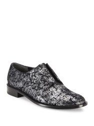 Robert Clergerie Jaml Metallic Leather Oxfords Silver