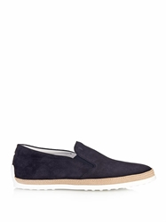 Tod's Suede And Raffia Deck Shoes