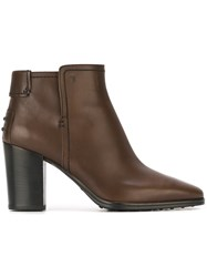 Tod's Zipped Ankle Boots Brown